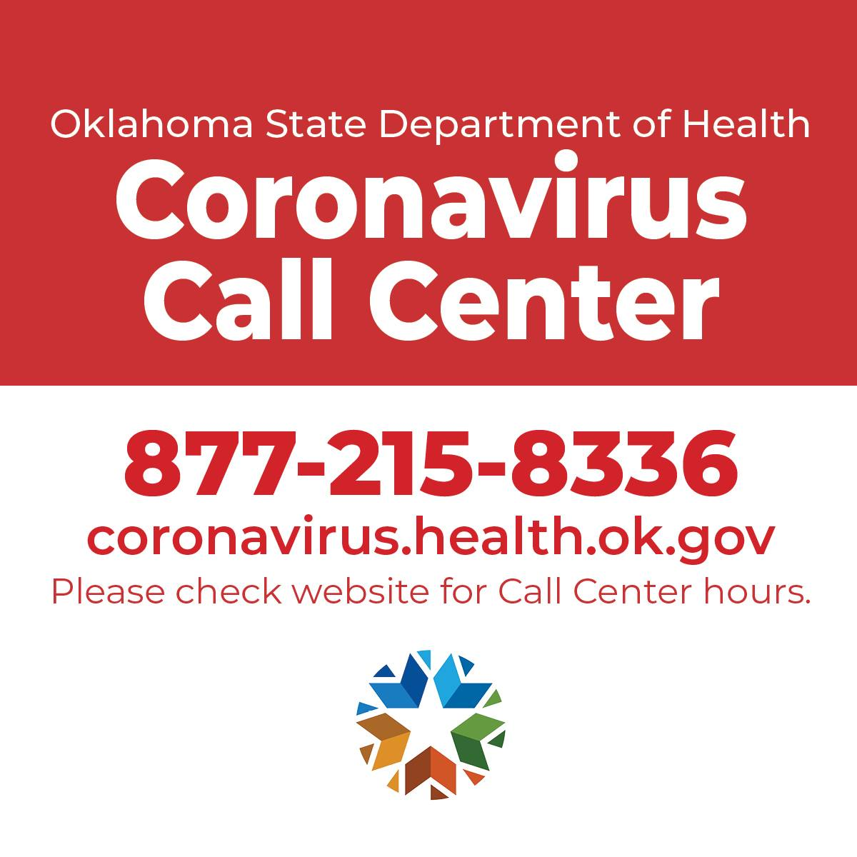 Oklahoma State Department of Health Coronavirus Call Center. 877-215-8336 coronavirus.health.ok.gov. Please check website for Call Center hours. State of Oklahoma logo.