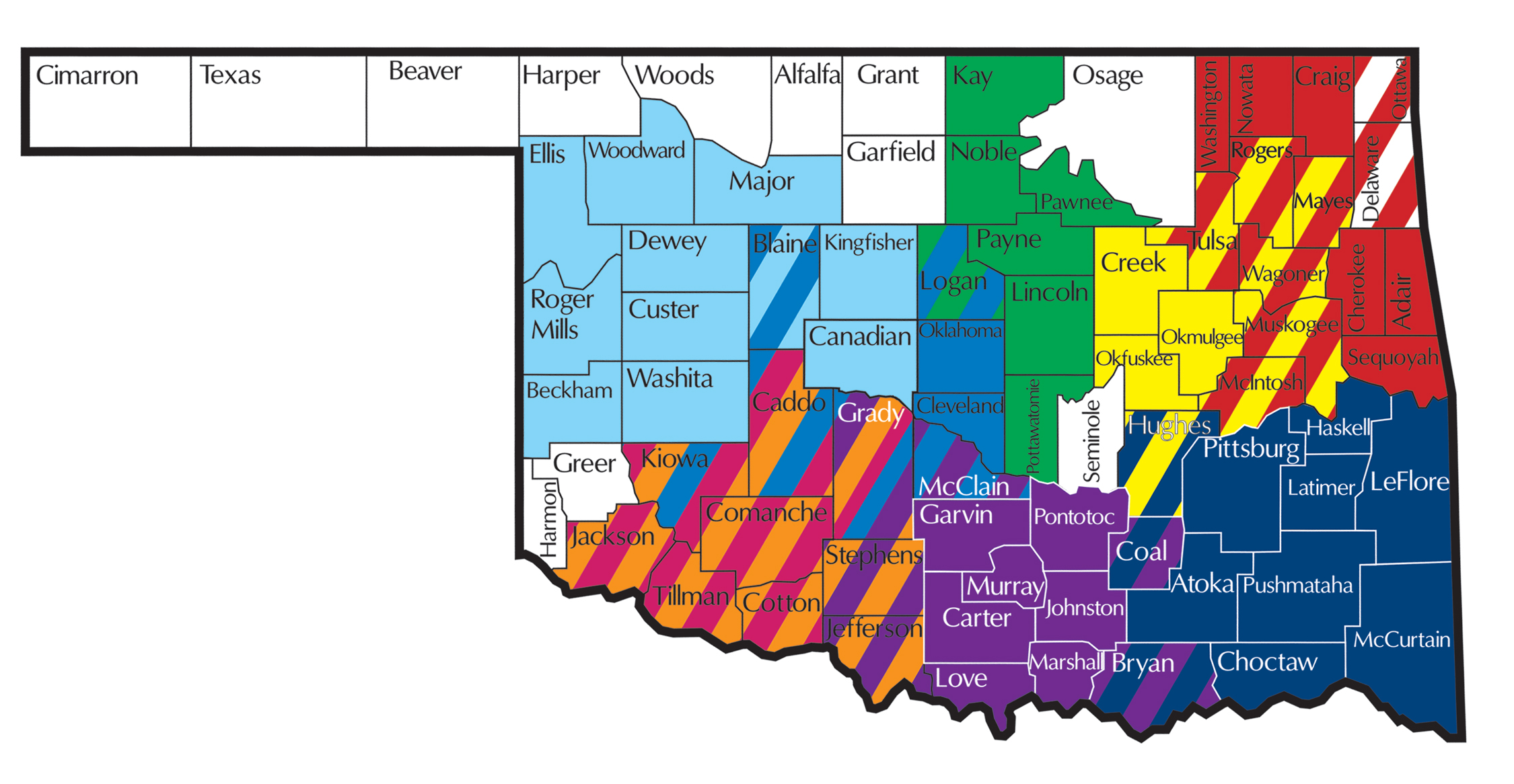 Oklahoma map with tribal VR colored by program, see list below for counties served