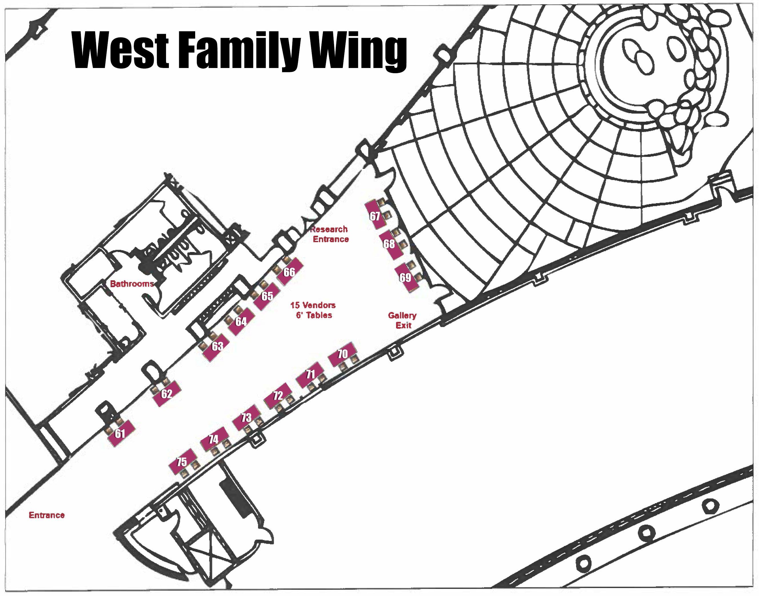 Floor plan set up for the West Family Wing