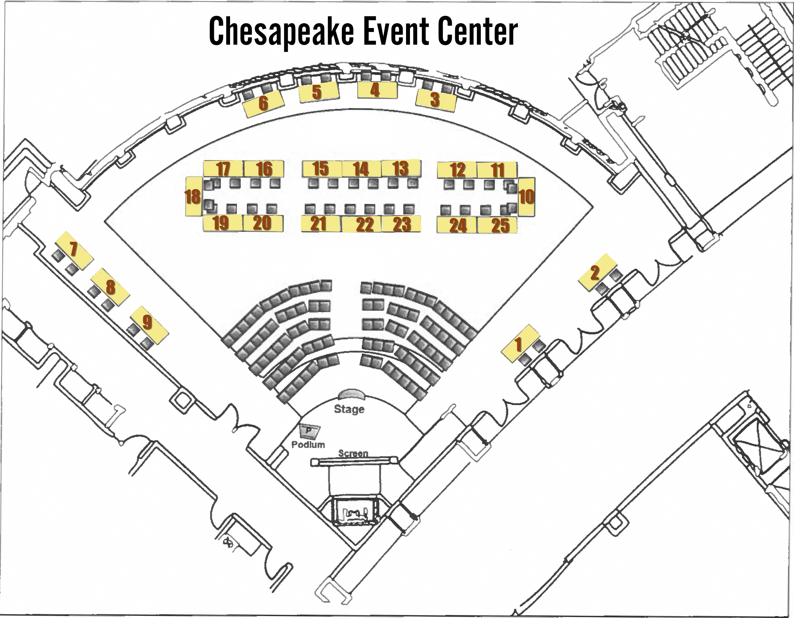 Floor plan of the table set up in the Chesapeake Event Center