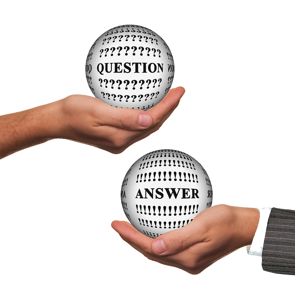 Two hands holding globes. The hand on the left is holding a globe that says questions and the hand on the right is holding a globe that says answers.
