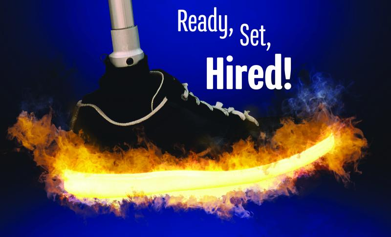 An athletic shoe with a prosthetic leg with fire around the shoe with Ready, Set, Hired