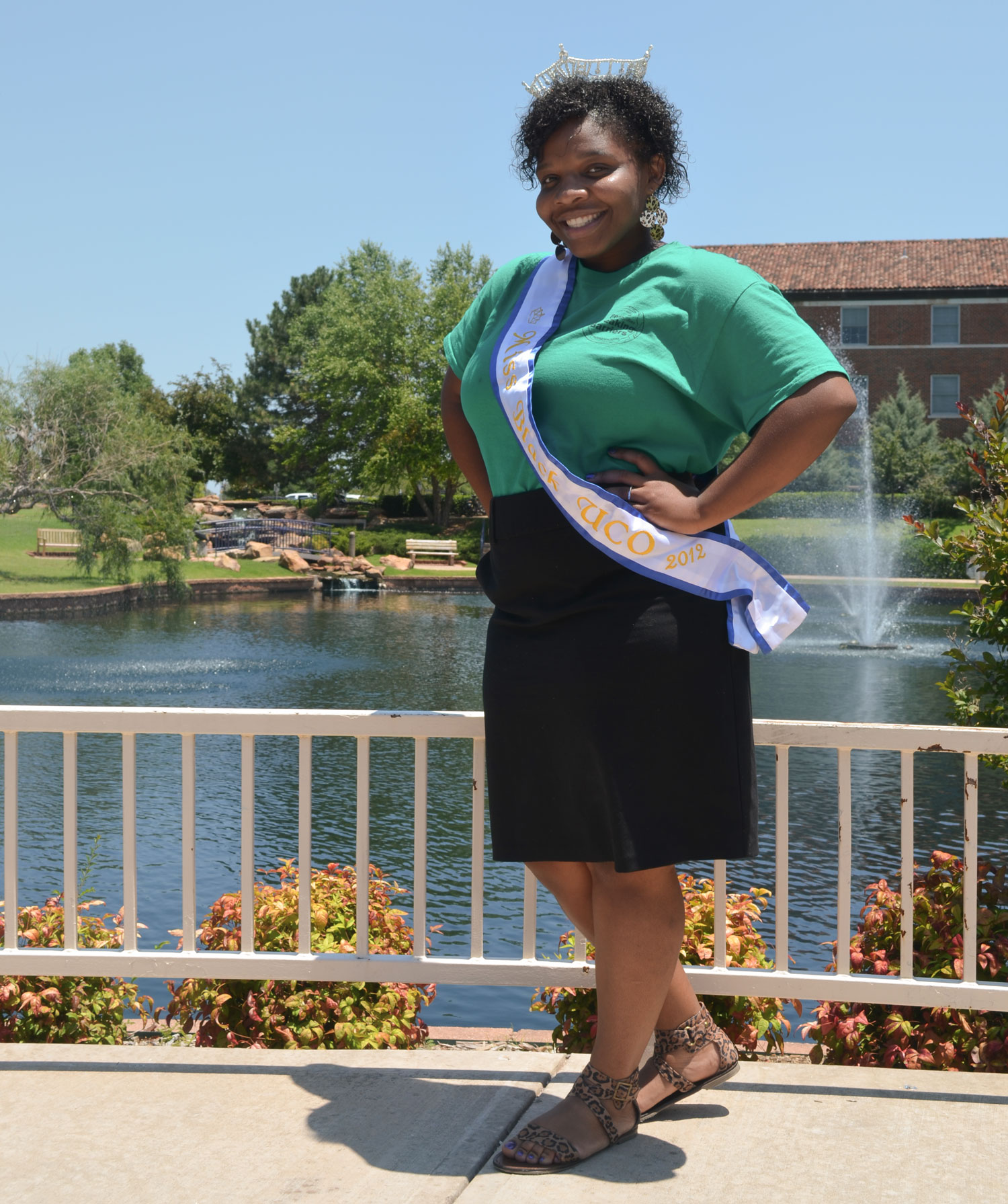 Thompson poses in her Miss Black UCO shash and crown.