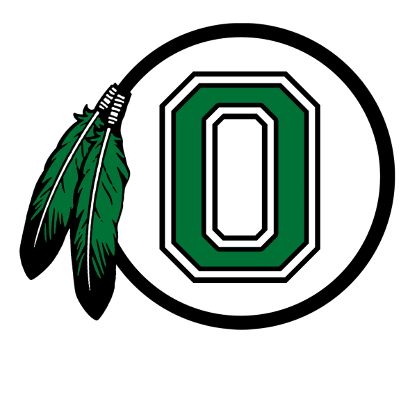 OSD Logo, Green O with Native American feathers across the top