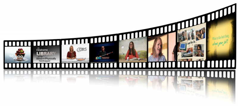 a film strip with images from various DRS videos