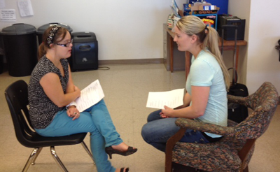 Mock interviews with two young girls.