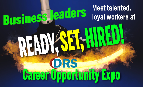 Businessleaders meet talented, loyal workers at Ready, Set, Hired! DRS logo. Career Opportunity Expo. Text in front of graphic of prosthetic ankle in tennis show on fire.