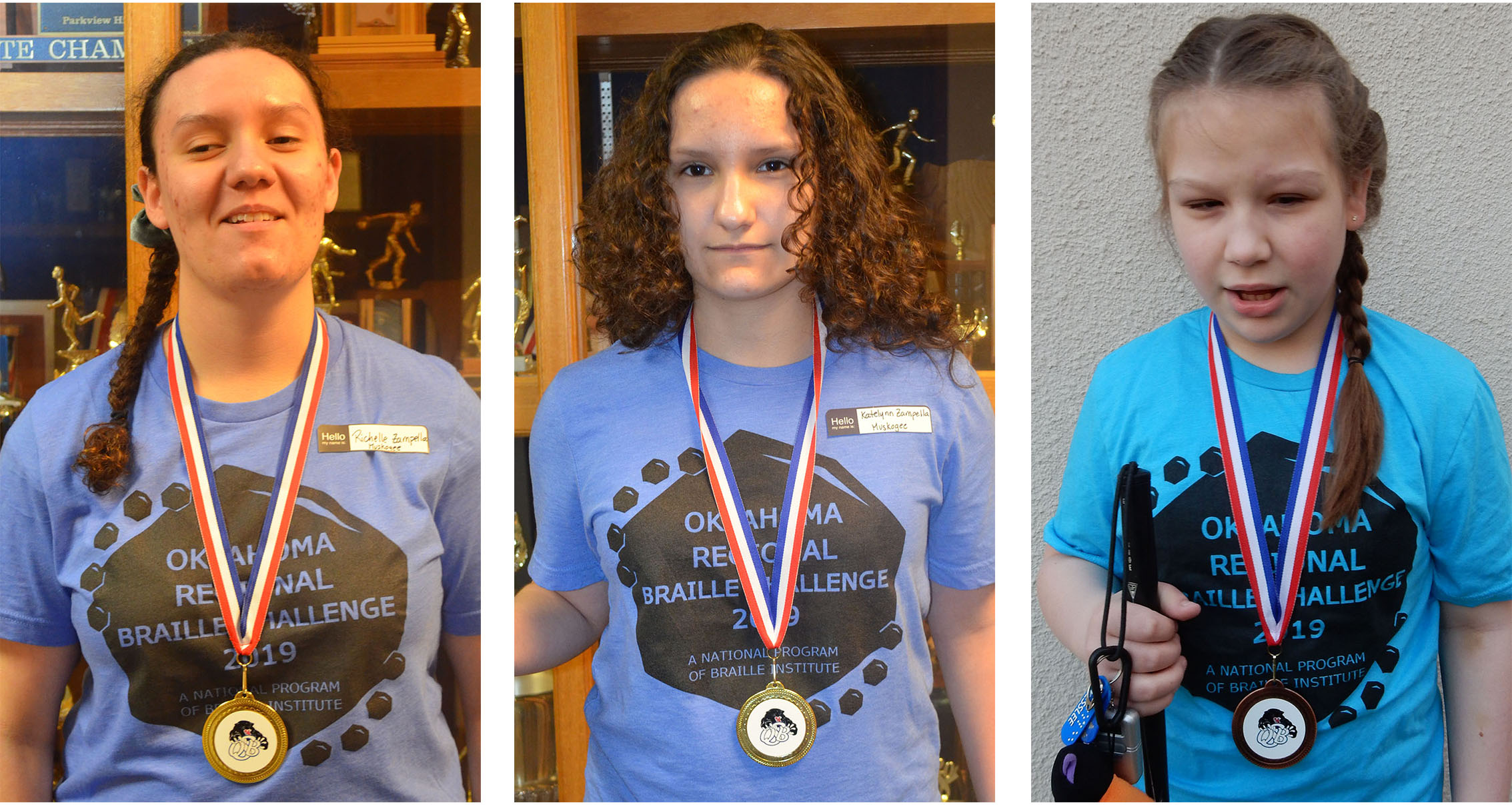 Photos of 3 students wearing medals on ribbons around their necks