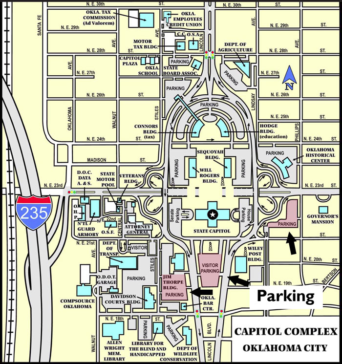 A map of the capitol complex show parking at the Jim Thorpe building, visitor parking lot to the south of the Capitol and to the east.
