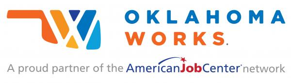 Graphic of state of Oklahoma. Oklahoma Works. A proud partner of the American Job Center network.ic.