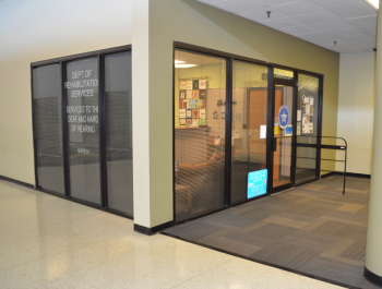 View of the front of the office inside Shepard Mall
