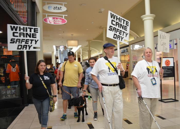 People with canes, dogs and White Cane Safety Day signs walk in an indoor mall.