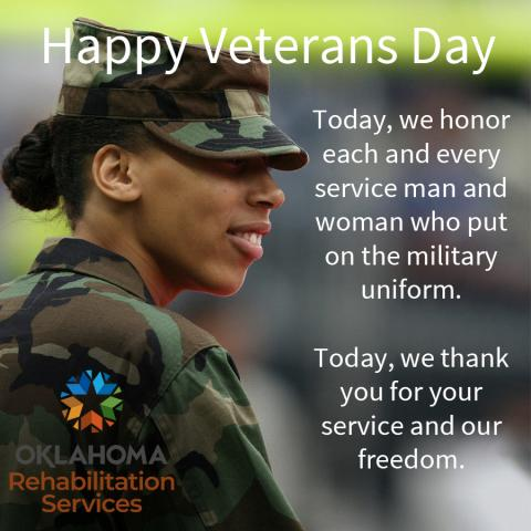 Happy Veterans Day.  Today, we honor each and every service man and woman who put on the military uniform.  Today, we thank you for your service and our freedom. Image of an African American woman in a military uniform.