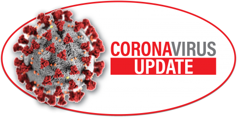 Corona Virus update molecule and DRS logo