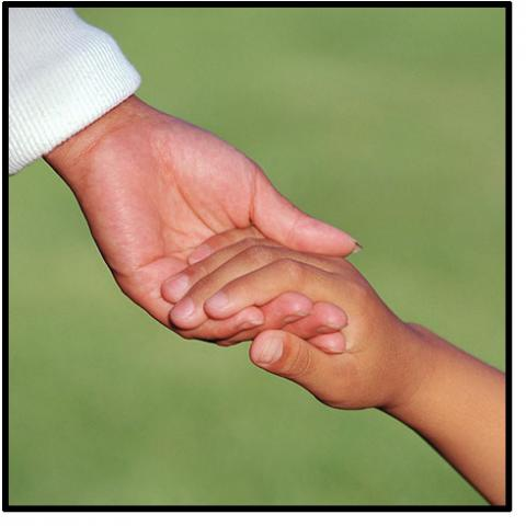 A hand of an adult reaching down taking the hand of a child