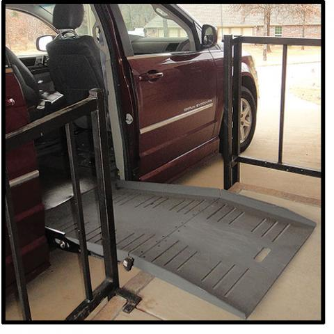 A mini van with a side ramp out for wheelchair use