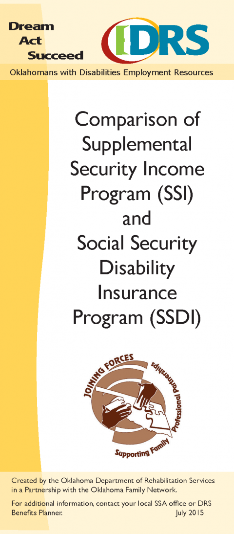 Cover of SSI and SSDI Comparison Brochure