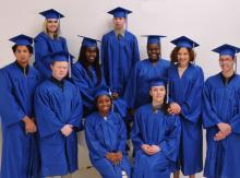 The senior class in their cap and gowns.