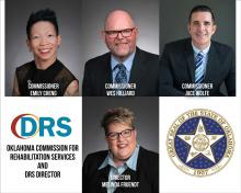 Four photos. Emily Cheng, Wes Hilliard, Jace Wofe, Melinda Fruendt, DRS logo. Oklahoma Department of Rehabilitation Services. Oklahoma State Seal.