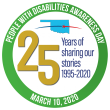 People with Disabilities Awareness Day circular logo with marking of 25th year of the event 1995-2020.