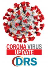 Round ball with tufts sticking in it. Corona Virus Update. DRS logo.
