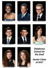 head shots of the eight seniors