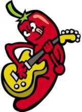Graphic: Chili pepper playing guitar