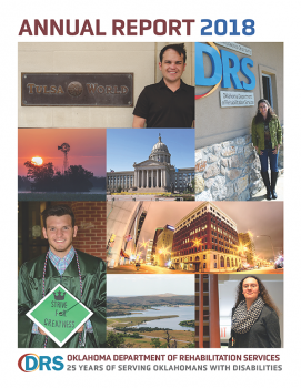 Photo of cover of Fiscal Year 2018 Oklahoma Department of Rehabilitation Services Annual Report.
